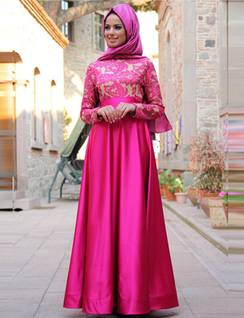 Abendkleider Lang 2019 Elegant Muslim   Evening     dresses   Long Sleeve High Neck Saudi Arabian Prom Gown Formal   Dress   Robe de soiree