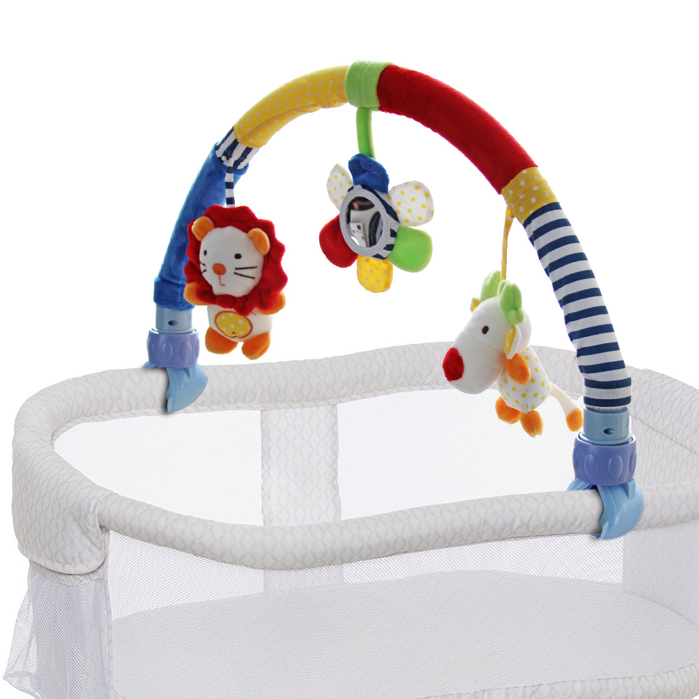 Baby Travel Play Arch Stroller Toy Crib Pram Activity Bar with Rattle Squeak Toy