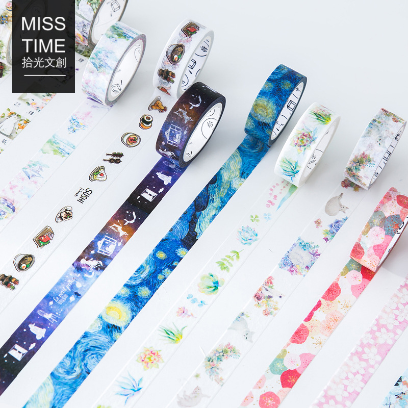 1 Pcs DIY Japanese Paper Washi Tape Cartoon Flower Cat Planet Decorative Adhesive Tape  MaskingTape Stickers Size 15mm*7m