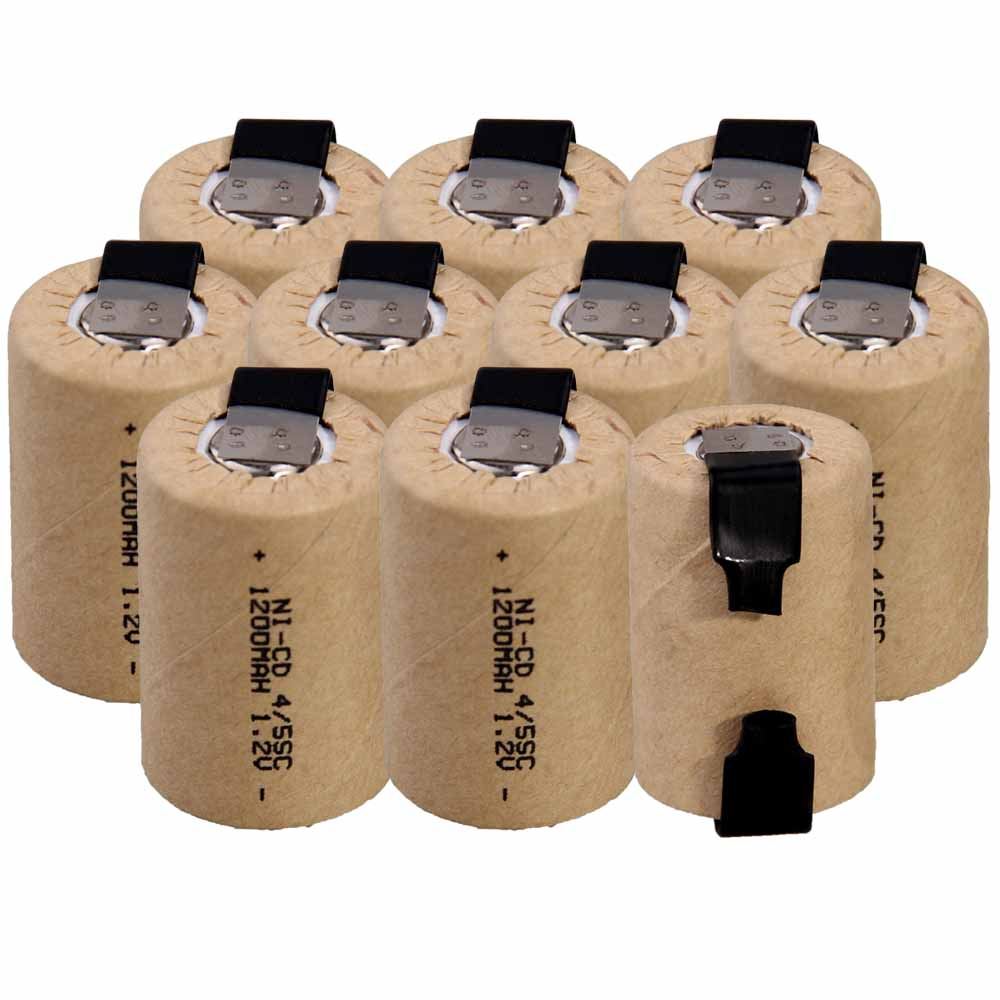 Lowest Price 10 Piece 4/5SC Battery 1.2v Batteries Rechargeable 1200mAh Nicd Battery For Power Tools Akkumulator
