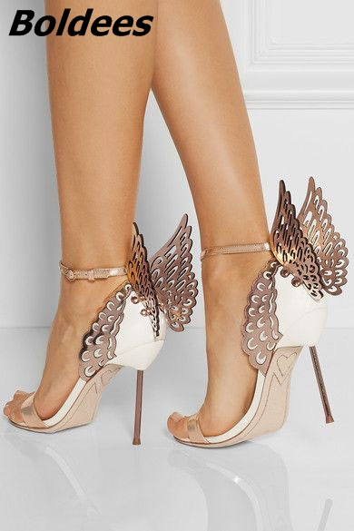 Unique Paillette Stiletto Talons À Nouveau Boucle Chaussures Ligne Papillon rose Robe Mode Scintillant Design Femmes Style Ivoire Sandales La 3qA5RjL4