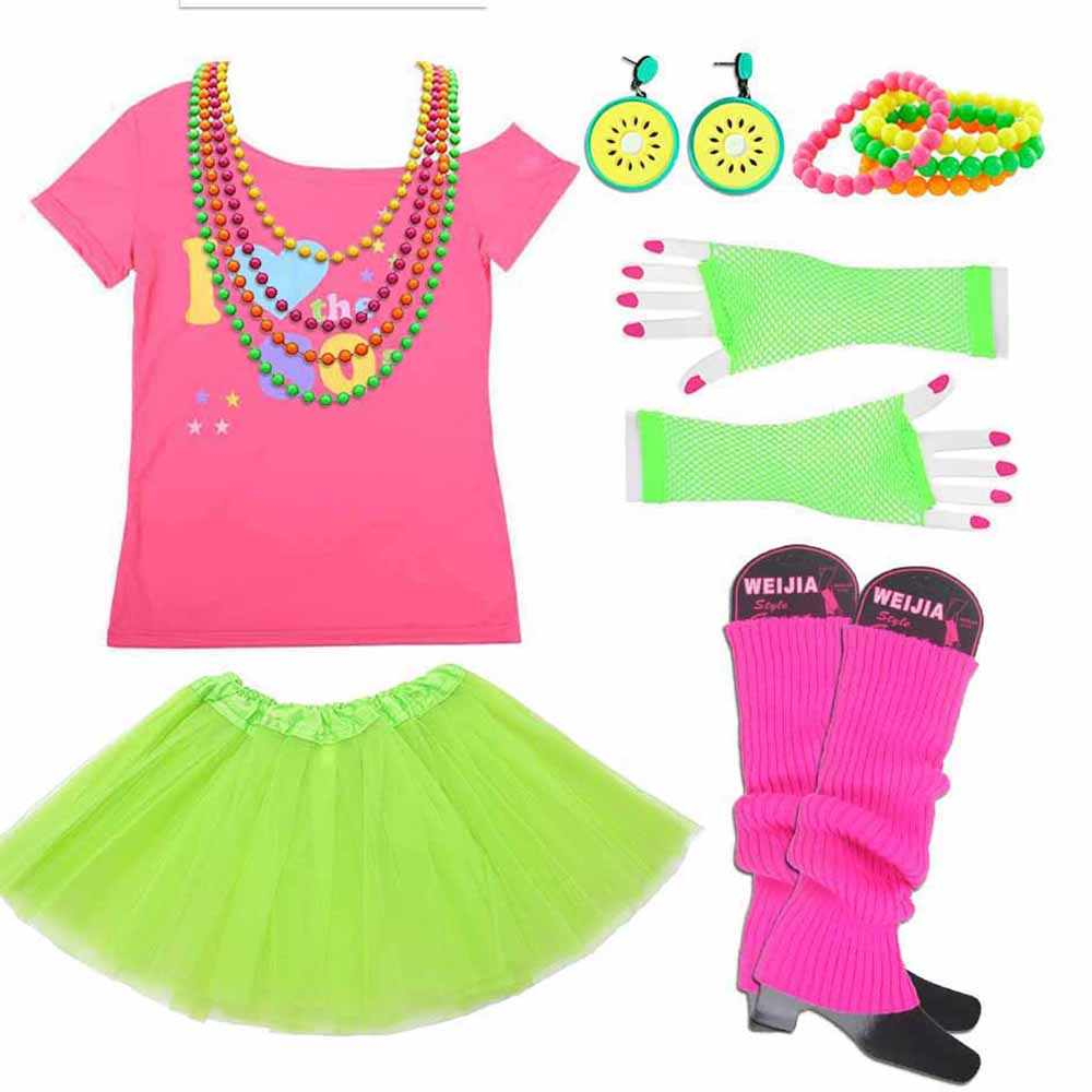 I love 80s Costume Women 1980s Retro Disco T-shirt Outfit With Gloves  Accessories Rock 659b3f1ca734