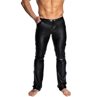 Men Black PVC Faux Leather Pants Club Wear Stage Skinny Pants Gay Fetish Leggings Sexy Latex Men Long Trousers Pole Dance Pants