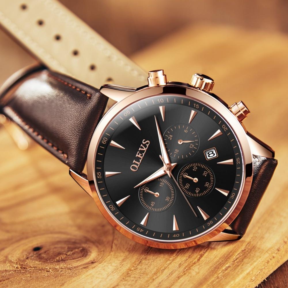 OLEVS יוקרה Mens שעונים עסקים עור מותג - שעונים גברים