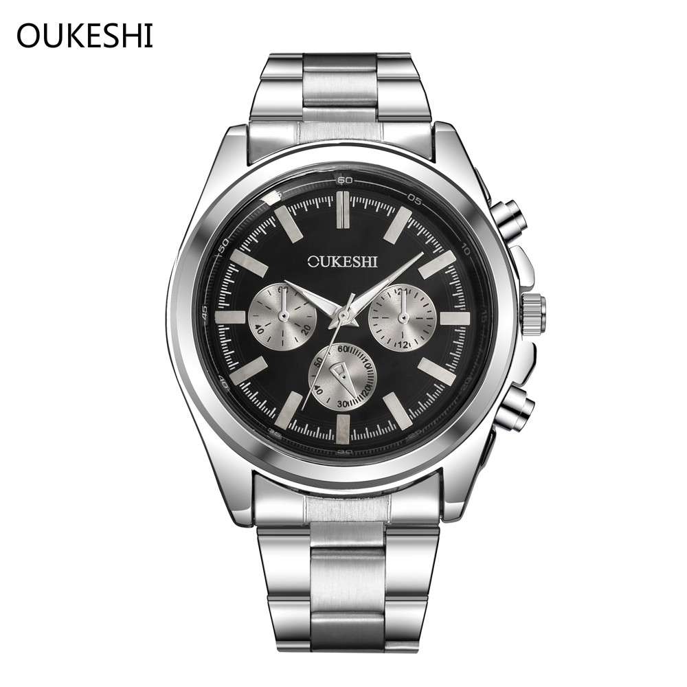 2017 TOP Brand Luxury OUKESHI Quartz Men Watch Military Wristwatch Stainless Steel Waterproof Business Watches Relogio masculino труборез rothenberger mini max 70015