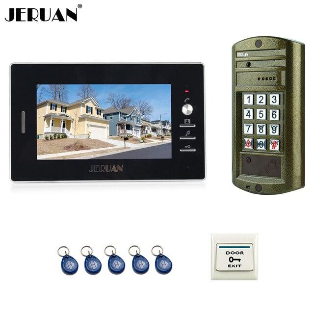JERUAN NEW 7 inch Color LCD video door phone Doorbell intercom system kit Metal panel Waterproof Access password HD Mini Camera
