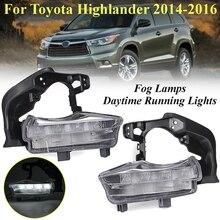 1 пара автомобиль мигает светодиодный DRL Габаритные огни лампы света тумана автомобилей Стайлинг для Toyota Highlander 2014 2015 2016