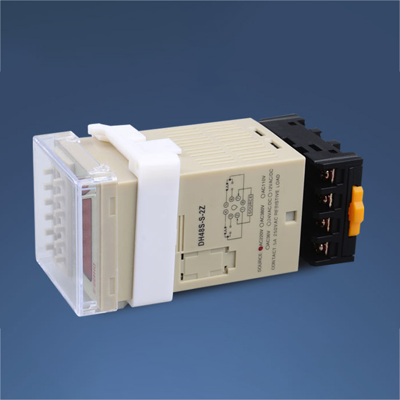 DH48S-S-2Z AC 220V Repeat Cycle DPDT Time Relay With Socket DH48S Series 220V AC Delay Timer With Base 24V 12V adjustable pressure switch air compressor switch pressure regulating with 2 press gauges valve control set