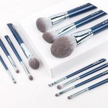 Juego de brochas de maquillaje de ojos, kit de 11 sombras de ojos, colorete, base, cejas, herramientas de belleza profesionales