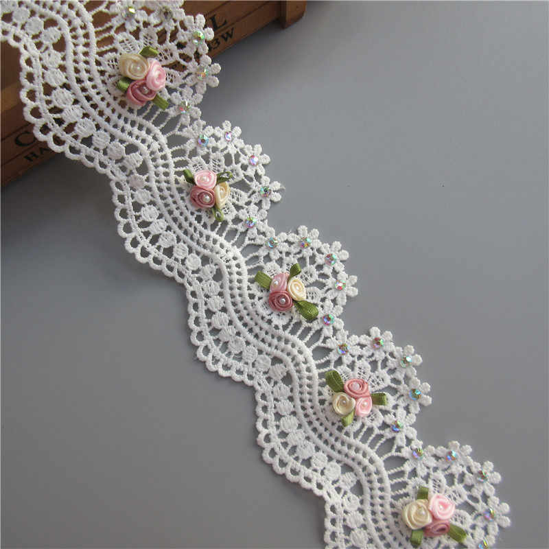 1yd Soluble Cotton Flower Diamond Pearl Embroidered Fabric Lace Trim Ribbon Handmade DIY Sewing Craft For Costume Hat Decoration
