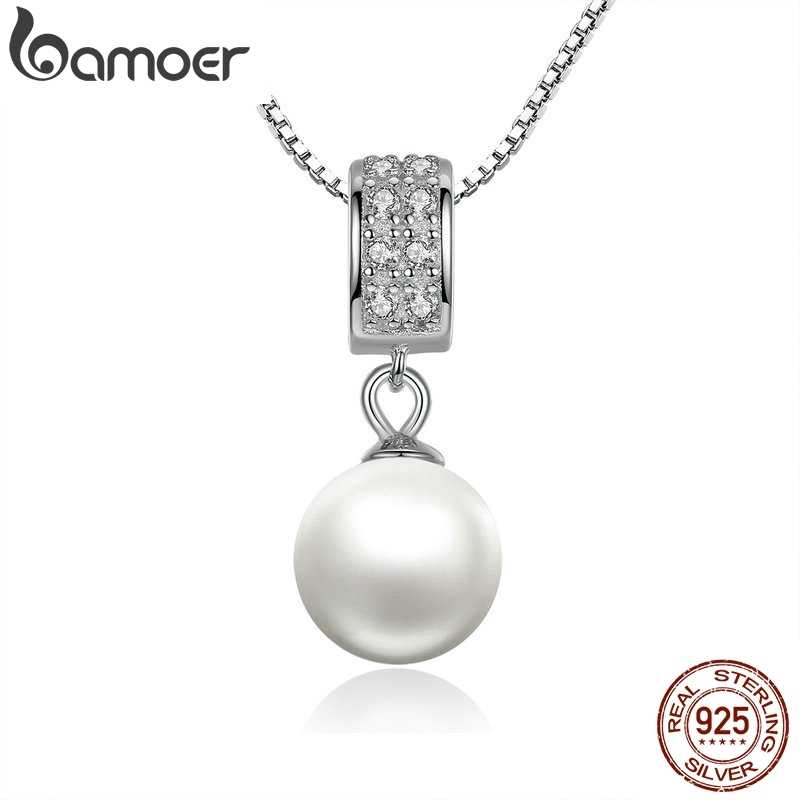 BAMOER 925 Sterling Silver Simulated Pearl Pendant Necklace Long Chain Necklace  Jewelry Wedding Necklace Accessories SCN030