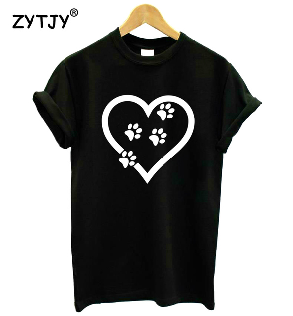 88ae560a love heart cat paw Print Women tshirt Cotton Casual Funny t shirt For Lady  Girl Top Tee Hipster Tumblr Drop Ship Z-1101