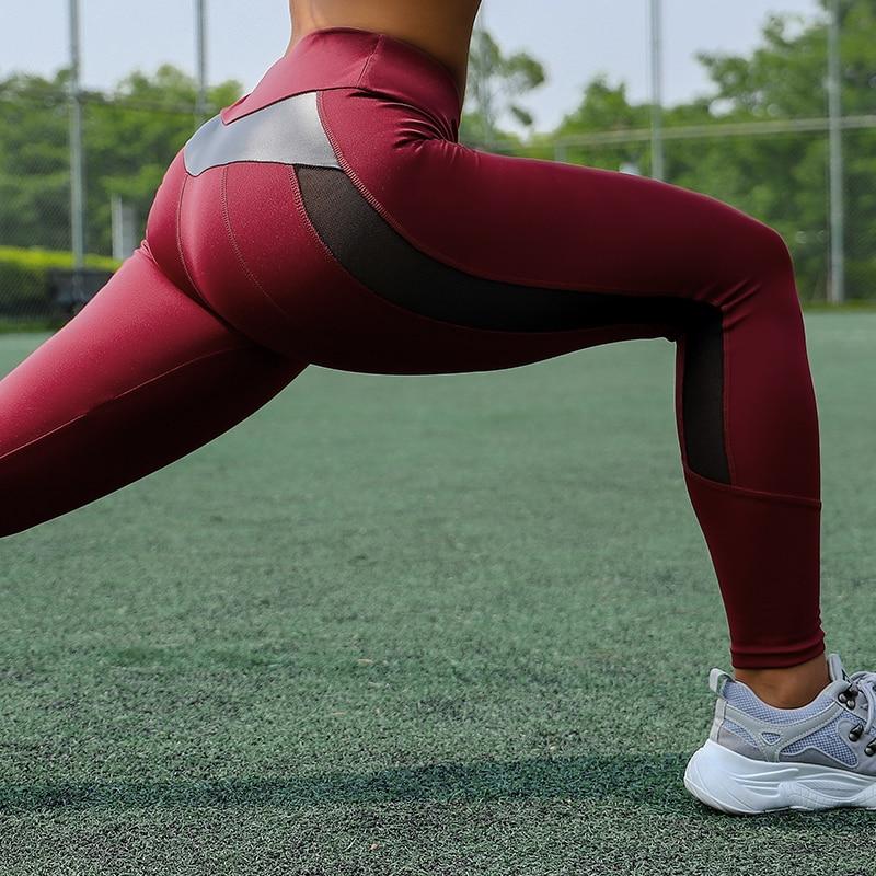 HTB1NYLCXMaH3KVjSZFpq6zhKpXa7 CHRLEISURE High Waist Fitness Leggings Women for Leggings Workout Women Mesh And PU Leather Patchwork Joggings S-XL