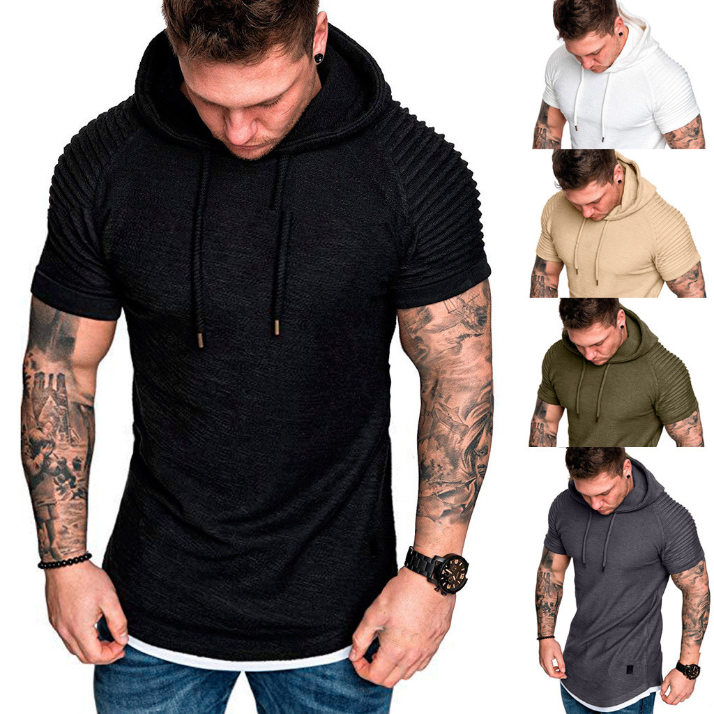 Tshirts Men Slim Fit Casual Drape Pattern Large Size Short Sleeve Hoodie Tops T Shirt Muscular Man Summer Fashion C0606