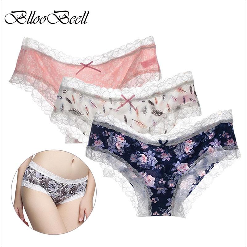 BllooBeell Low Waist Women's Underwear Briefs Sexy Lace   Panties   for Women Print Design Female Girls Silky Lingerie Seamless M/L