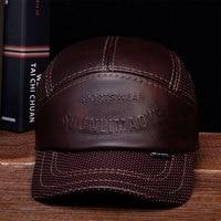 HL033 Mens Leather Baseball Ball Cap Hat Biker Trucker Sports