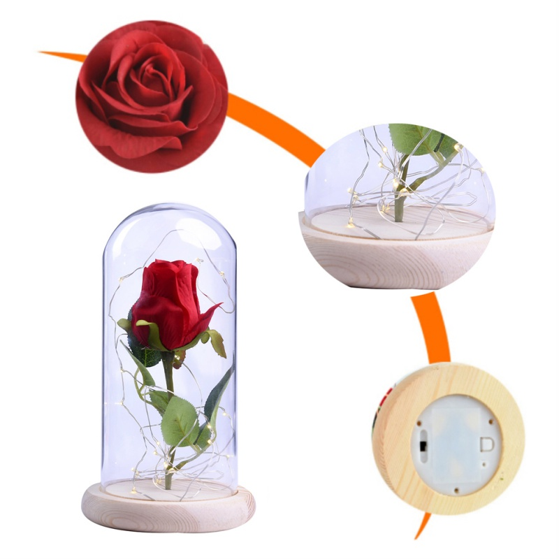 2018 WR Beauty And The Beast Red Rose in a Glass Dome On A Wooden Base for Valentines Gifts Birthday Party Gift