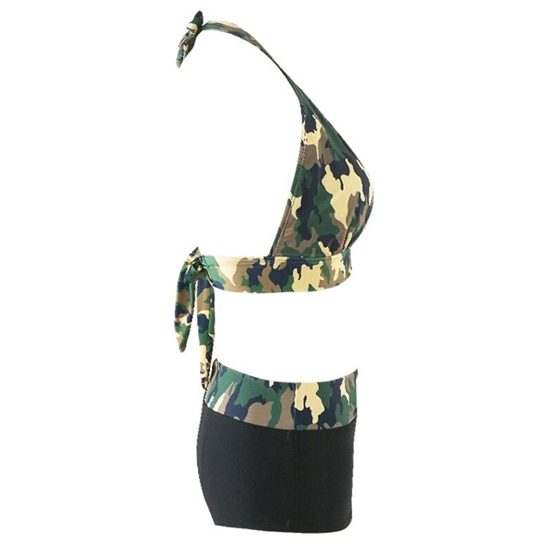 Camouflage Print Bikini Set Camo Halter Bra & Briefs