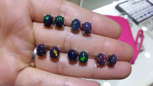 Image 2 - Speciale aanbieding nieuwe natuurlijke zwarte opaal oorbellen, eenvoudige stijl, 925 sterling zilver, hot koop