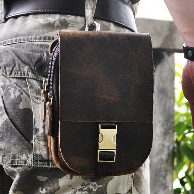 """New Top Qualidade Genuína Do Couro De Couro Real dos homens do vintage Marrom Pequeno Pacote de Cintura Bolsa de Cinto Gancho 5 """"Caso de telefone 6185"""
