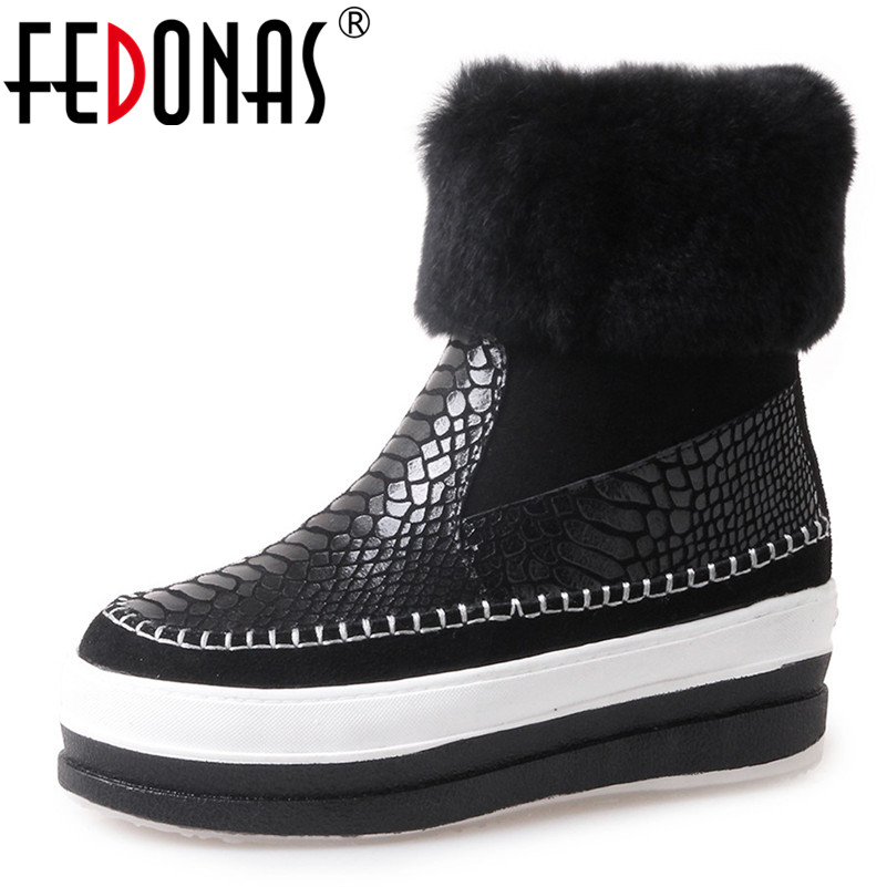 FEDONAS Fashion Women Mid-calf Boots Wedges High Heels Warm Autumn Winter Snow Boots High Platforms New Casual Shoes Woman