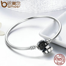 BAMOER High Quality Authentic 925 Sterling Silver Blue Eyes Clear CZ Snake Chain Heart Bangle & Bracelet Luxury Jewelry SCB012