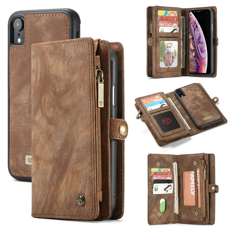 CaseMe Leather Case For iPhone Xs Xr Xs Max Detachable 2 in 1 Zipper Credit Card Purse Case For iPhone X 7 8 Plus 6 6s Plus bag