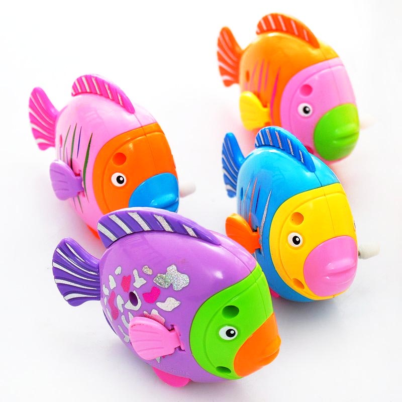 Colorful Fish Activated Battery Powered Fish Toy On The Chain Clockwork Toy For  Children Kids Gifts Baby Toy