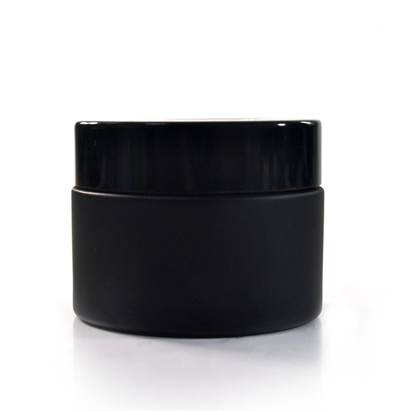 120pcs 50g Matte Black Glass Jar With Black Aluminum Cap 50g Black Glass Cream Jar 50g Black Glass Cosmetic Jar