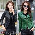 Высокое Качество PU кожаная куртка мотоцикла Тонкий женский короткий кожаный большой размер женщин кожаная куртка XL-4XL черный и зеленый
