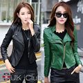 Alta Calidad de LA PU cuero de la motocicleta chaqueta de cuero chaqueta de cuero corta Delgada femenina mujeres de gran tamaño XL-4XL negro y verde