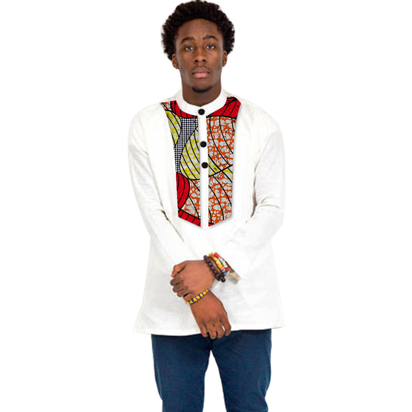 African print shirt dashiki outfits fashion patchwork stand collar long sleeve tops custom color plus size