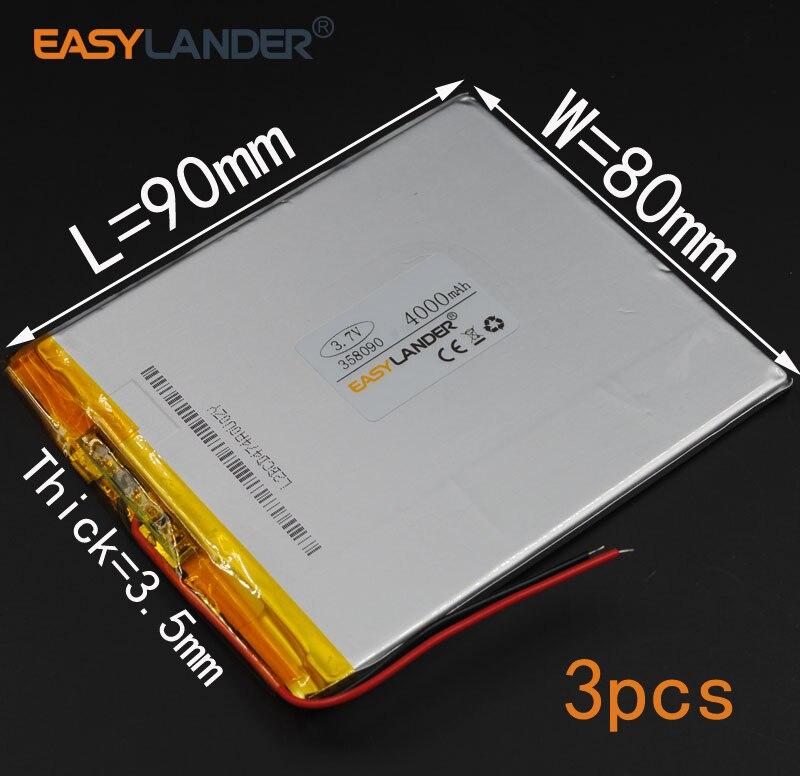 3 шт./лот 3,7 в 4000 мАч 358090 перезаряжаемый литий-полимерный литий-ионный аккумулятор для (7 8 9 дюймового планшетного ПК) Soulycin S18 PDA Onda V802