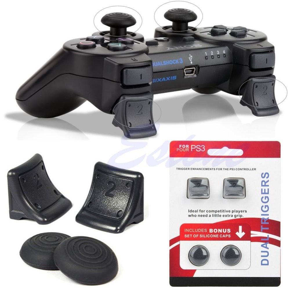 For PS3 Controller Dual Triggers Bonus Silicone Thumb Grip Caps Cover 4in1 Set