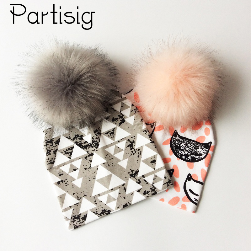 Baby Cap Cotton Printing Pompom Hat For Boys And Girls Winter Kids Caps Fashion Baby Hat