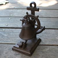 Mediterranean Sea Accents Vintage Rudder Design Cast Iron Coffee Bar Tabletop Decor Hand Ringing Food Service Call Dinner Bell