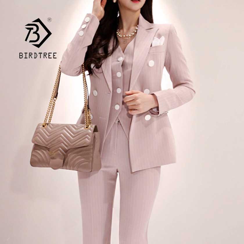 2019 formel trois pièces ensemble femmes pantalon costumes col cranté rayé Blazer veste gilet pantalon poche costume de haute qualité S95506Z