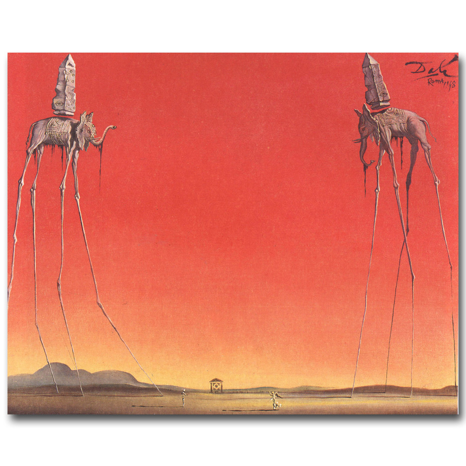 NICOLESHENTING The Elephants Salvador Dali Art Silk Fabric Poster Print Abstract Pictures Living Room Wall Decoration 013