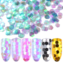 6PCS/set Holographic Nail Art Sequins Flakes Gold Silver Colorful 3d DIY Glitters