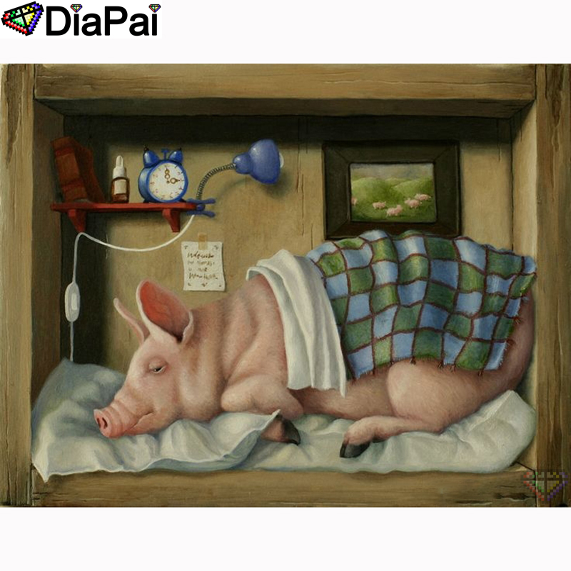 DIAPAI 5D DIY Diamond Painting 100 Full Square Round Drill quot Animal pig quot Diamond Embroidery Cross Stitch 3D Decor A21534 in Diamond Painting Cross Stitch from Home amp Garden