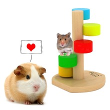 Small Pet Animal Pine Colorful Swivel Jumping Climbing Ladder for Hamster / Chinchillas / Guinea Pigs Funny Toys Play Exercise