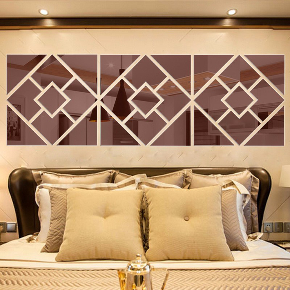 4 Squares Mode DIY Wall Sticker 3D Acrylic Mirror Wall Decals Home ...