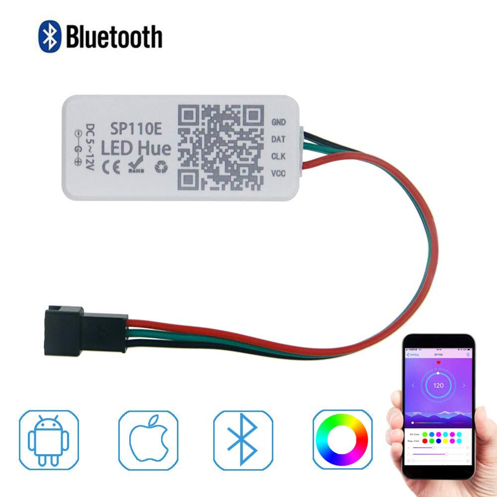 SP110E Bluetooth Pixel Light Controller WS2811 WS2812B Ws2812 Dimmer SK6812 RGB RGBW APA102 WS2801 Pixels Led Strip IOS Android