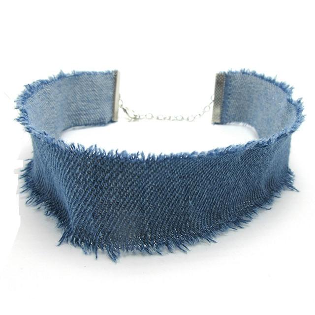 2016 Nouveau Bleu Denim Collier Ras Du Cou Pour Femmes Gland Jeans colliers Tour de Cou de tatouage choker Collier ras de cou colar bijoux femme