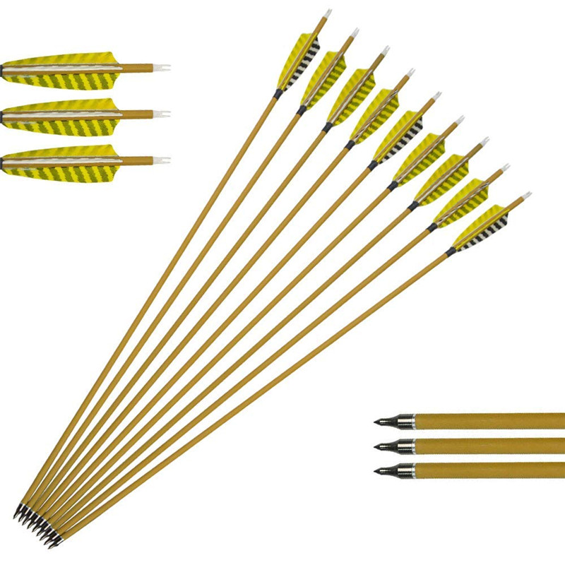 6 12Pcs 30 quot Spine 450 Archery Carbon Arrows 4 quot Turkey Feather Replaceable Arrow Tips For Outdoor Hunting Shooting Accessories in Bow amp Arrow from Sports amp Entertainment
