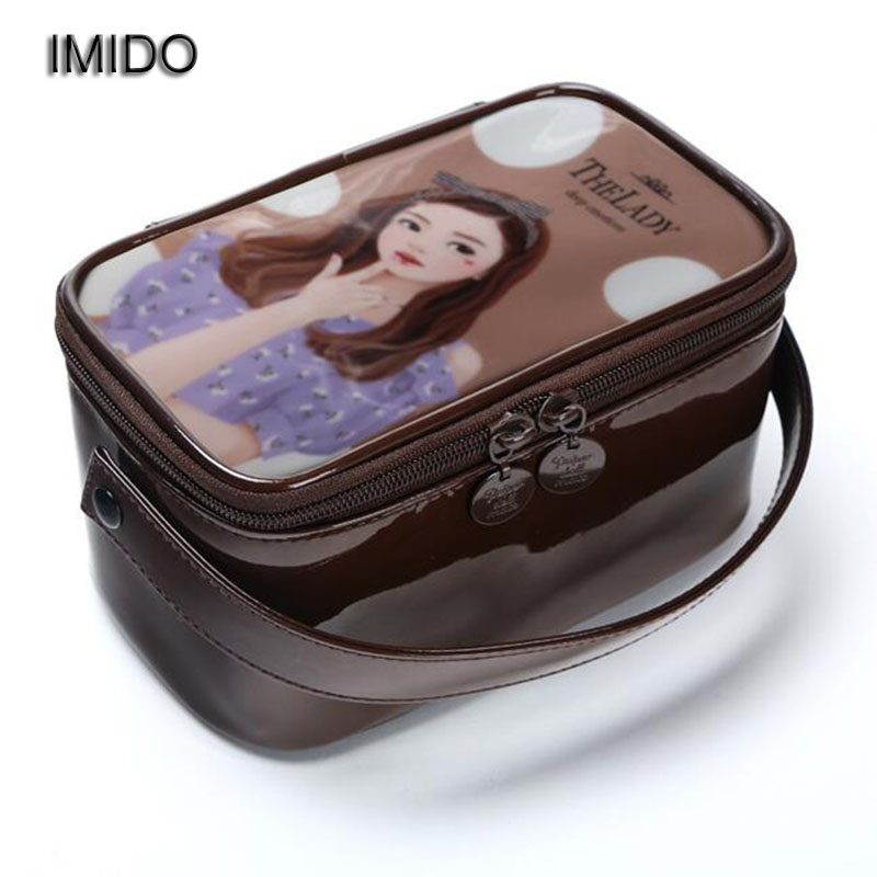 IMIDO High Quality girls Beauty Women cosmetic bag organizer make up bags Travel toiletry Storage wash bags organizador XLY032