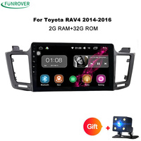Funrover 2 din Android 8.0 Quad Core Car DVD GPS Navigation For Toyota RAV4 2013 2014 2015 car radio audio video player 2G+32G