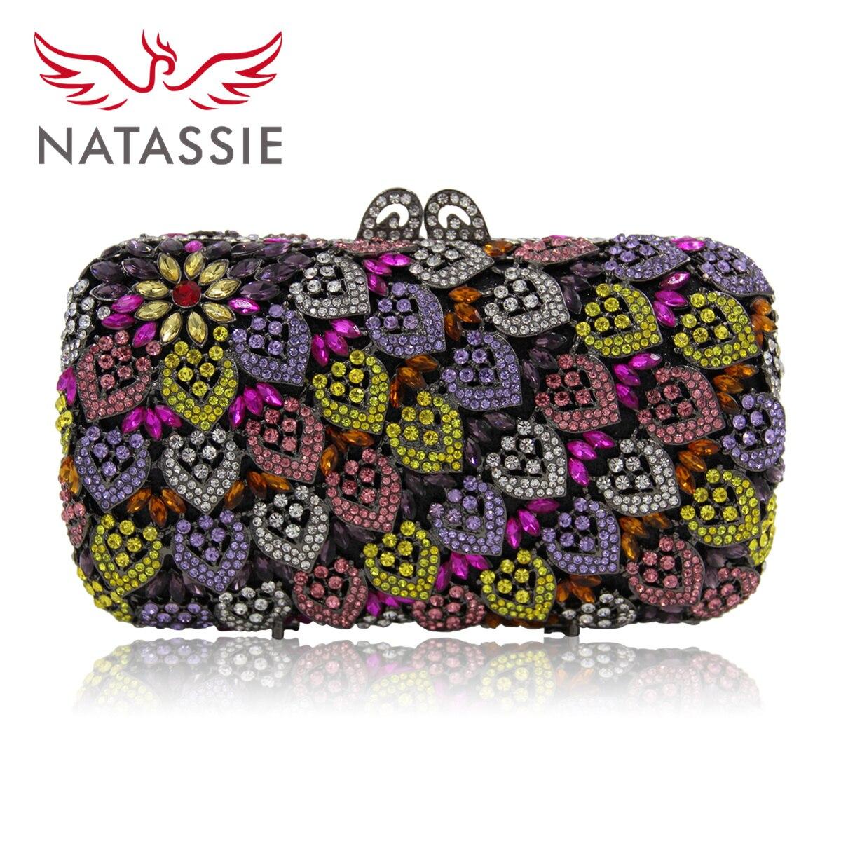 Natassie 2017 mujeres de la manera bolso de noche nuevo diseño hojas coloridas d