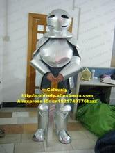잘 생긴 로봇 Automaton 군인 전사 전투기 기사 마스코트 의상 성인 검은 삼각형 눈 흰색 글로브 머리 No.8078