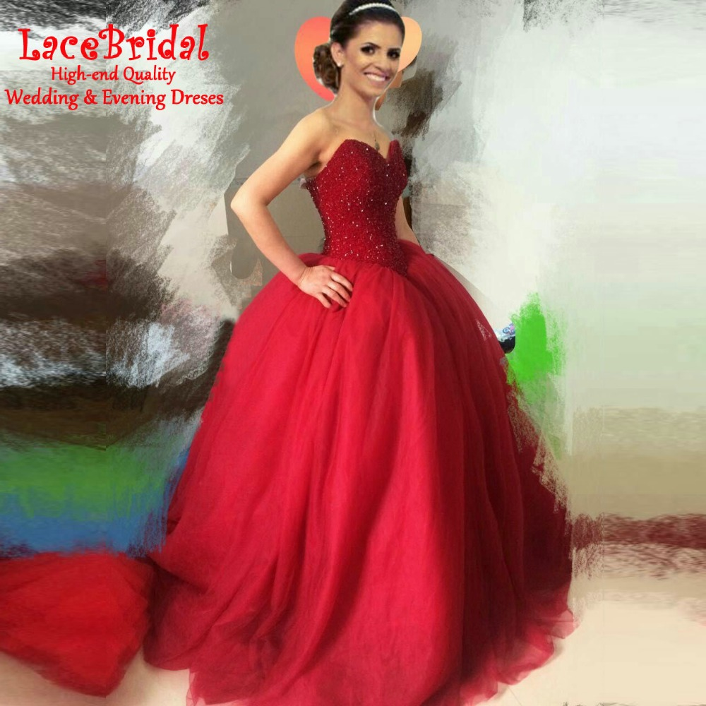 Real Lebanen Luxury Gorgeous Burgundy Ball Gown Dubai Crystal ...